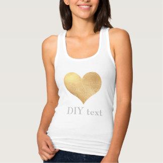 PixDezines gold heart Tank Top