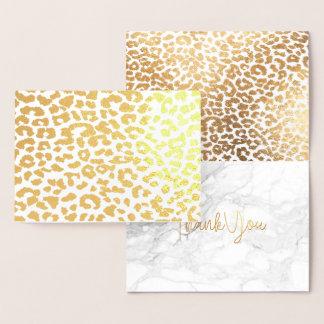PixDezines Gold Leopard Spots Thank You Foil Card