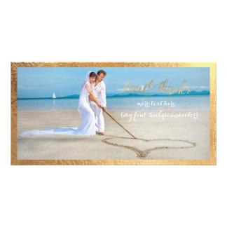PixDezines Gold script/Love/Thanks/wedding photo Customized Photo Card