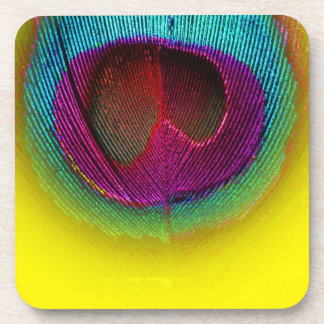 PixDezines Gorgeous Peacock eye/teal+pink Beverage Coasters