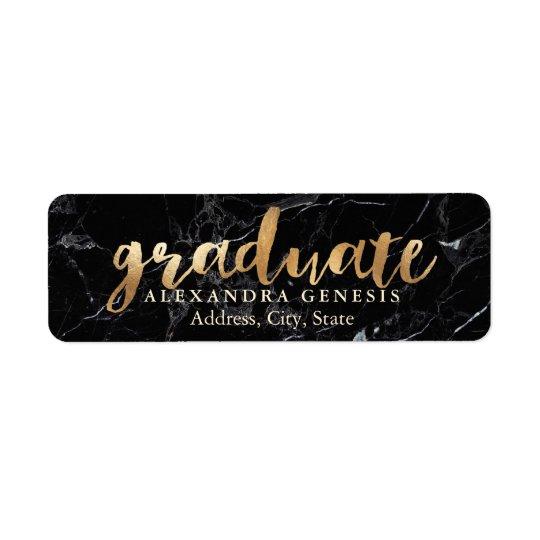 PixDezines Graduation/Faux Gold Script Font Return Address Label