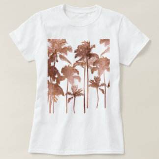 PixDezines Hawaii, Aloha Palm Trees/Faux Rose Gold T-Shirt
