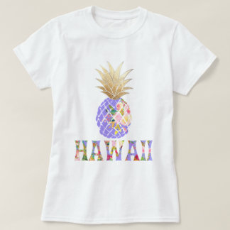 PixDezines Hawaii, Aloha Pineapple/Faux Gold T-Shirt