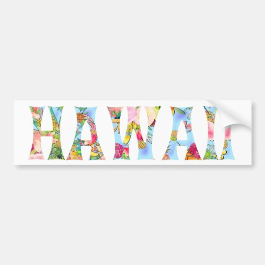 PixDezines Hawaii Tiki Typography Bumper Sticker