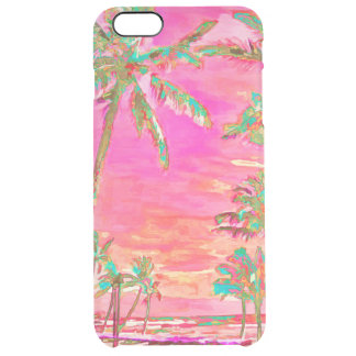 PixDezines Hawaii/Vintage/Beach/Pink/Teal Clear iPhone 6 Plus Case