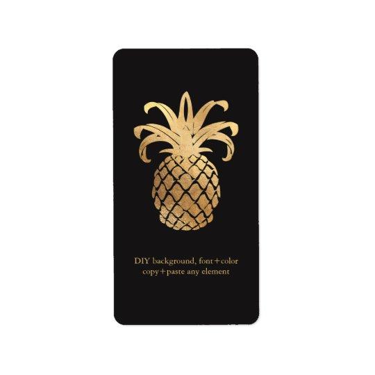 PixDezines HawaiianPineapple Faux Gold Wine Labels