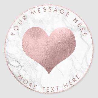 PixDezines HEART FAUX ROSE GOLD+MARBLE Classic Round Sticker