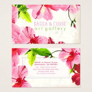 PixDezines hibiscus/digital watercolor/aged paper Business Card
