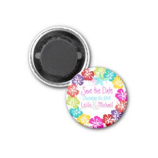 PixDezines hibiscus lei, Save the Date 1 Inch Round Magnet
