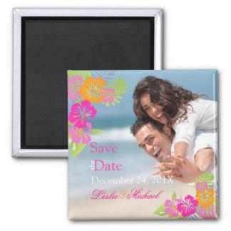 PixDezines hibiscus leis, Save the Date Square Magnet