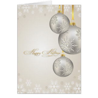 PixDezines Holiday Cards, silver ornaments Card