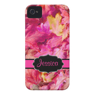 PixDezines hot pink maple leaves/fall iPhone 4 Cases