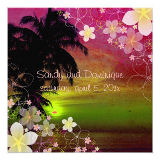 PixDezines hula dream plumeria beach tropical Personalized Announcements
