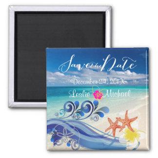 PixDezines hulawaves/beach+plumeria Magnet