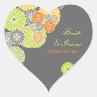 PixDezines Kiku (chrysanthemum), citrus color Heart Sticker