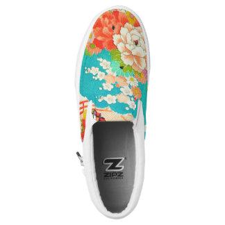 PixDezines Kimono/Peonies/Cherry Blossoms Slip-On Sneakers