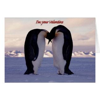 PixDezines Kissing Emperor Penguin Valentine's Greeting Card