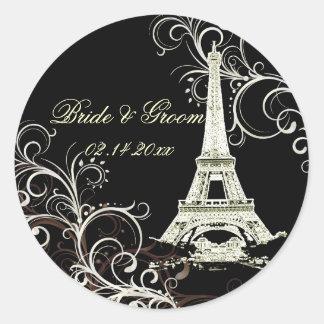 PixDezines La Tour Eiffel+Swirls Classic Round Sticker