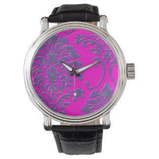 PixDezines lavender damask/diy background Wristwatch