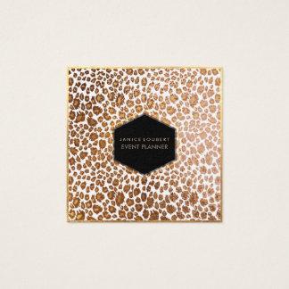 PixDezines Leopard Print/Faux Gold/DIY Background Square Business Card