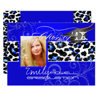 PixDezines Leopard Print Graduation, Electric Blue Card