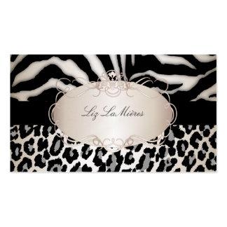 PixDezines leopard/zebra/champagne Business Card