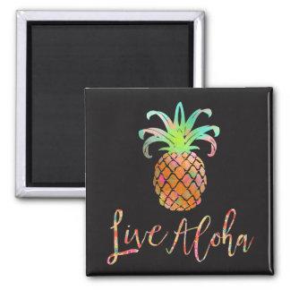 PixDezines Live Aloha Pineapples/DIY background Square Magnet