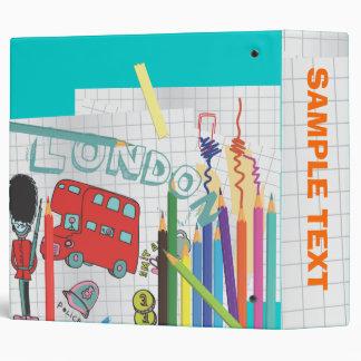 PixDezines London Bus Doodles 3 Ring Binders