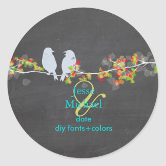 PixDezines Love Birds Chalkboard Round Sticker
