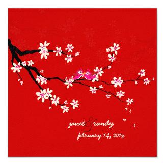 PixDezines Love birds/red cherry/sakura blossoms Card