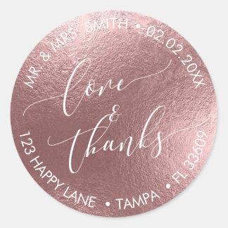 PixDezines LOVE+THANKS FAUX FOIL, ROSE GOLD Classic Round Sticker
