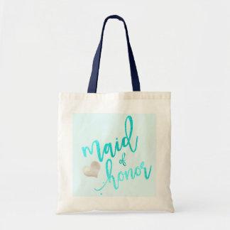 PixDezines Maid of Honor/Faux Foil/Aqua Tote Bag