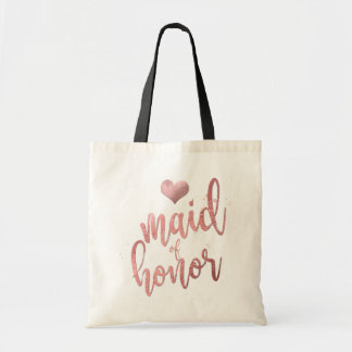 PixDezines Maid of Honor/Faux Rose Gold Script Tote Bag