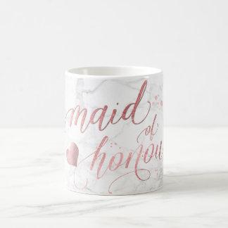 PixDezines Maid of Honour/Faux Rose Gold Script Coffee Mug