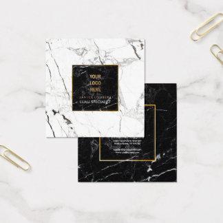 PixDezines Marble /Black+White Square Business Card