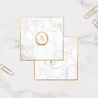 PixDezines Marble+DIY Faux Gold Monogram Square Business Card