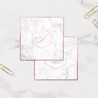 PixDezines Marble+Elegant Faux Rose Gold Monogram Square Business Card
