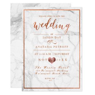 PixDezines Marble/Faux Copper/Wedding Card