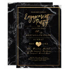 PixDezines Marble/Faux Gold/Engagement Party Card