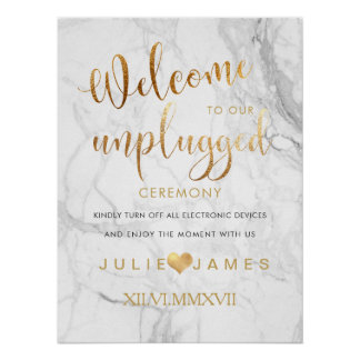 PixDezines Marble/Faux Gold/#UNPLUGGED Poster