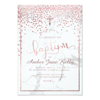 PixDezines Marble+Faux Rose Gold Dots/Baptism Card