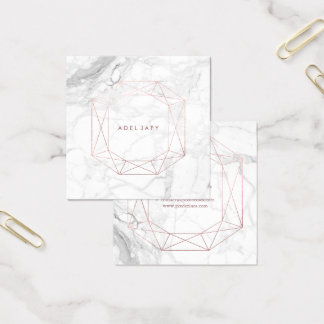 PixDezines Marble+Faux Rose Gold Emerald Cut Square Business Card