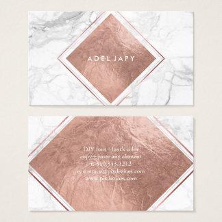 PixDezines Marble+Faux Rose Gold Foil Business Card