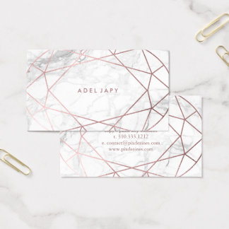 PixDezines Marble+Faux Rose Gold Oval Cut Business Card