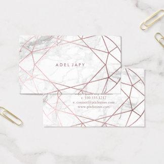 PixDezines Marble+Faux Rose Gold Oval  Gem Cut Business Card