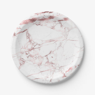 PixDezines Marble/Faux Rose Gold Veins Paper Plate