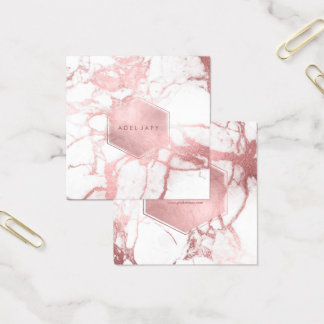 PixDezines Marble+Faux Rose Gold Veins Square Business Card