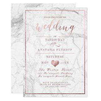 PixDezines Marble/Faux Rose Gold/Wedding Card