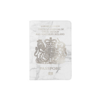 PixDezines Marble/Faux Silver/British Passport Holder