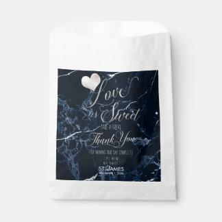PixDezines MARBLE LOVE IS SWEET+FAUX SILVER Favour Bag